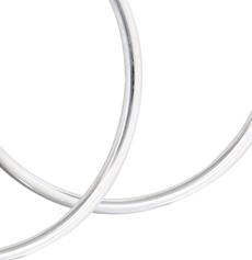 Silver 2mmx40mm Hoop Earring
