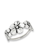 Sterling Silver Triple Flower Ring