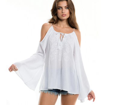 Angel Sleeve Cold Shoulder Embroidered Gauze Top