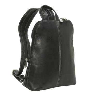 Leather U-Zip Women's Sling/Back Pack Black