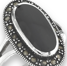Sterling Silver Ring With Marcasite and Black Onyx