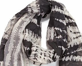 Two Toned Tye-Dye Oblong Scarf Black & Gray