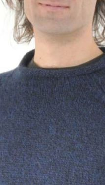 Blue Alpaca Knit Roll Neck Sweater