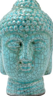 Blue Crackle Buddha Head