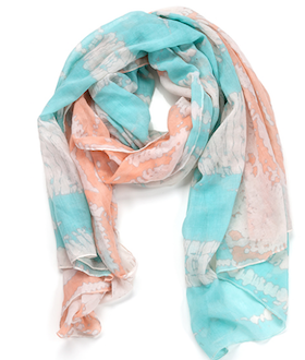 Two Toned Tye-Dye Oblong Scarf Blue & Orange