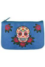Calavera Embroidered Blue Vegan Leather Small Pouch