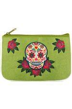 Calavera Embroidered Green Vegan Leather Small Pouch