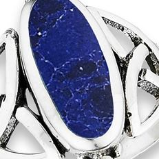 Celtic Knot Ring With Synthetic Sodalite