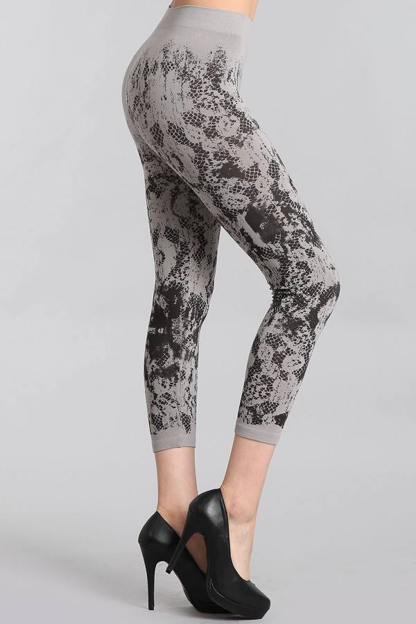 Cropped Leggings w/ Abstract Floral Mesh Print