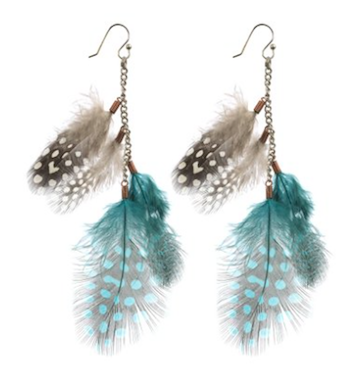 Brown & Blue Feather & Chain Dangle Earrings