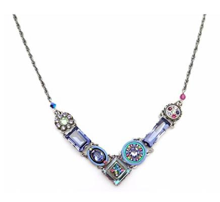 Firefly La Dolce Vita Silver Plated Purple Green V Mosaic Swarovski Necklace