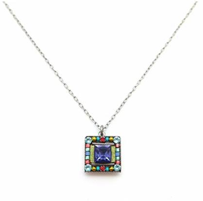 Firefly Luxe Square Mosaic Swarovski & Czech Glass Pendant Necklace