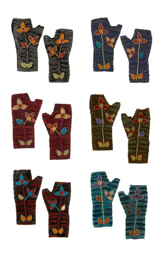 Fleece and Cotton Appliqued Fingerless Gloves