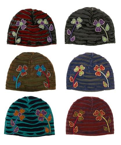 Fleece and Cotton Appliqued Hats