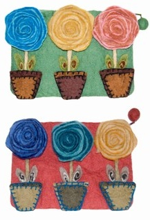 Flower Pot Wool Felted  Purse