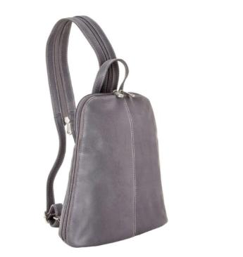 Leather U-Zip Women's Sling/Back Pack Silver