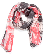 Two Toned Tye-Dye Oblong Scarf Gray & Pink