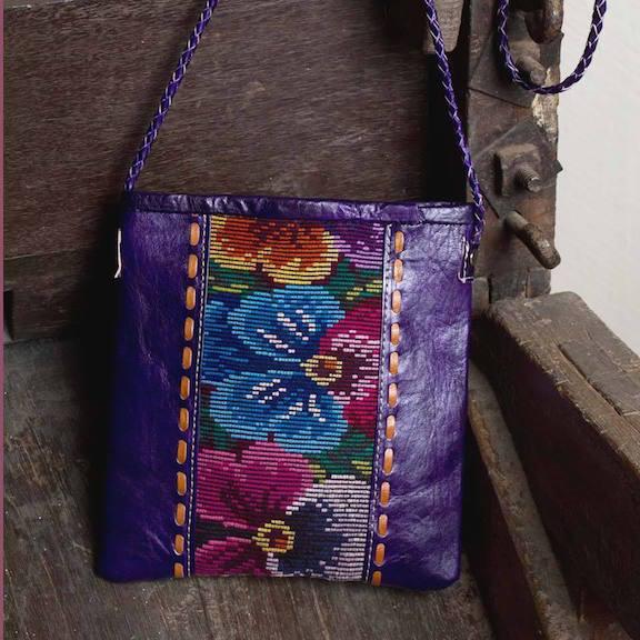 Huipile & Leather Shoulder Bag Product Description