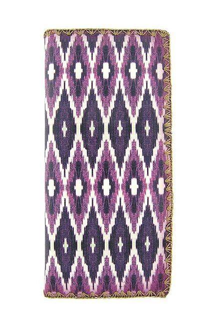 Ikat Pattern Print Vegan Leather Large Wallet