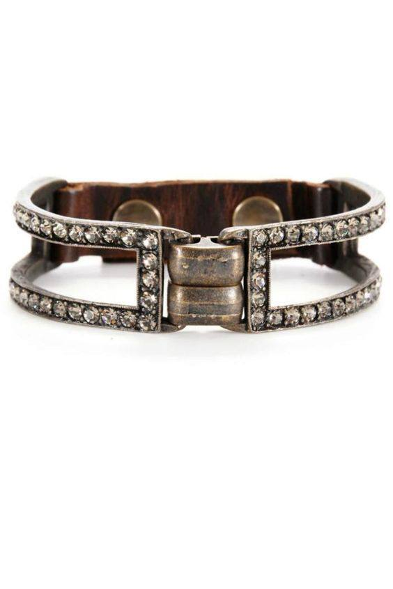 Leather & Crystal Bracelet