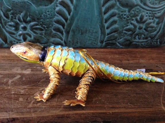 Articulated Gold  Chameleon Ornament
