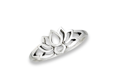 Sterling Silver Small Lotus Silhouette Ring