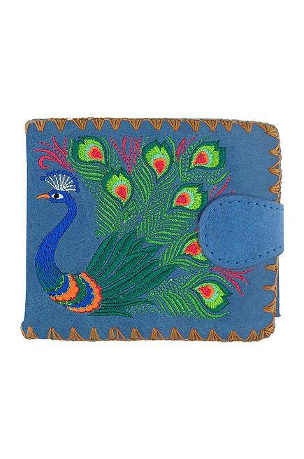 Lovely Peacock Embroidered Blue Wallet