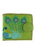 Lovely Peacock Embroidered Green Wallet