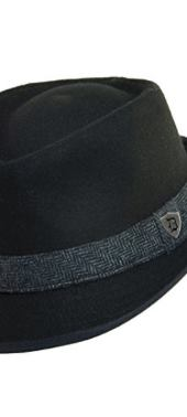 Men's Wool Blend Herringbone Band Fedora Hat