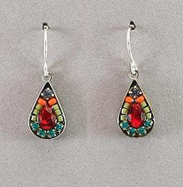 Firefly Mosaic Tear Drop Earrings Multicolor