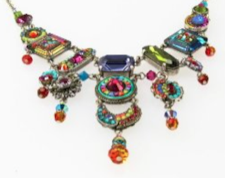 Large Tiered Necklace With Multicolored Swarovski Crystals