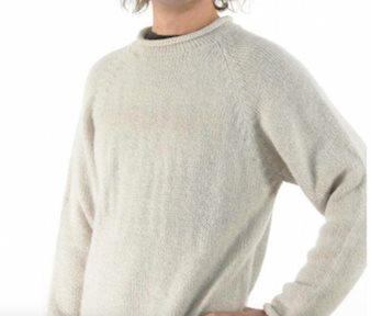 Oatmeal Alpaca Knit Roll Neck Sweater