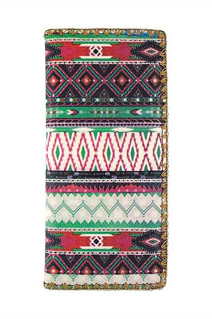 Playa Aztec Print faux Leather Wallet