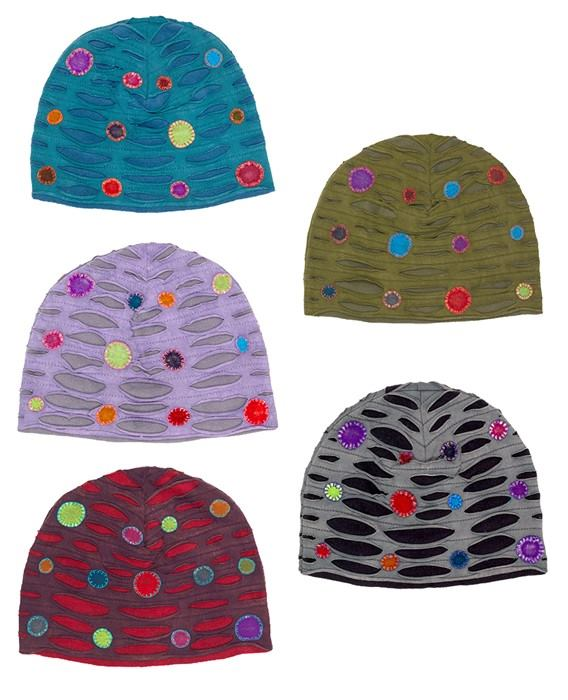 Polka Dot Fleece And Cotton Hats
