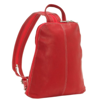 Leather U-Zip Women's Sling/Back Pack Red