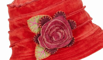 Velvet Red Hat with Wool Flower