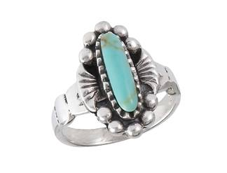 Ring With Synthetic Turquoise Sterling Silver