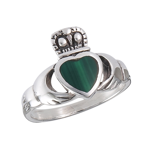 Sterling Silver Claddagh Ring with Synthetic Malachite