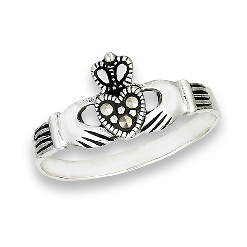 Sterling Silver Claddagh Ring With Marcasite