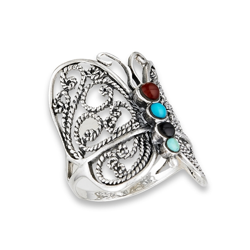 Sterling Silver Butterfly Ring With Mixed Synthetic Stones