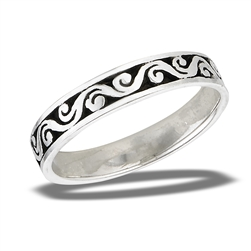 Sterling Silver Swirly Waves Ring