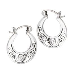 Sterling Silver Filigree Hoop Earring