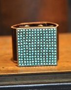 Vintage Brown Cuff With Light Turquoise