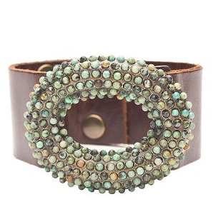 Open Dome Bracelet with African Turquoise