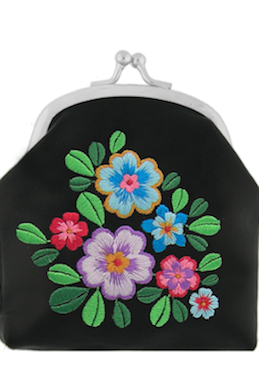 Coin Purse With Embroidery  Black Flower