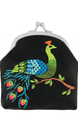 Coin purse With Embroidery  Black Peacock