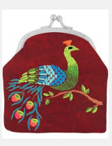 Coin purse With Embroidery  Red Peacock