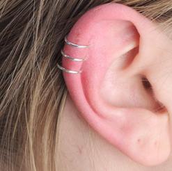 Silver Ear Cuff / 3 Rings