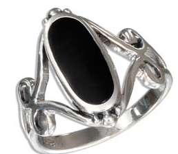 Sterling Silver Oval Black Ring with Open Scroll Designs