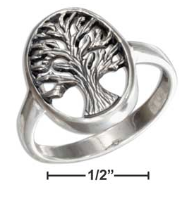 Sterling Silver Oval Antique Tree of Life Ring